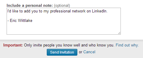 """only invite people you know well"" suggestion from LinkedIn"