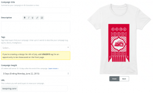 The copy portion of your TeeSpring campaign