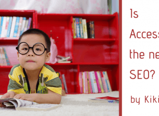 An adorable child with thick glasses sits in front of a bookshelf with the caption: is accessibility the new seo by Kiki Schirr